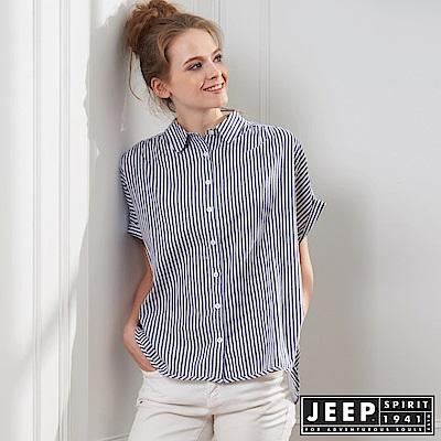 JEEP 女裝 休閒條紋短袖襯衫-灰色