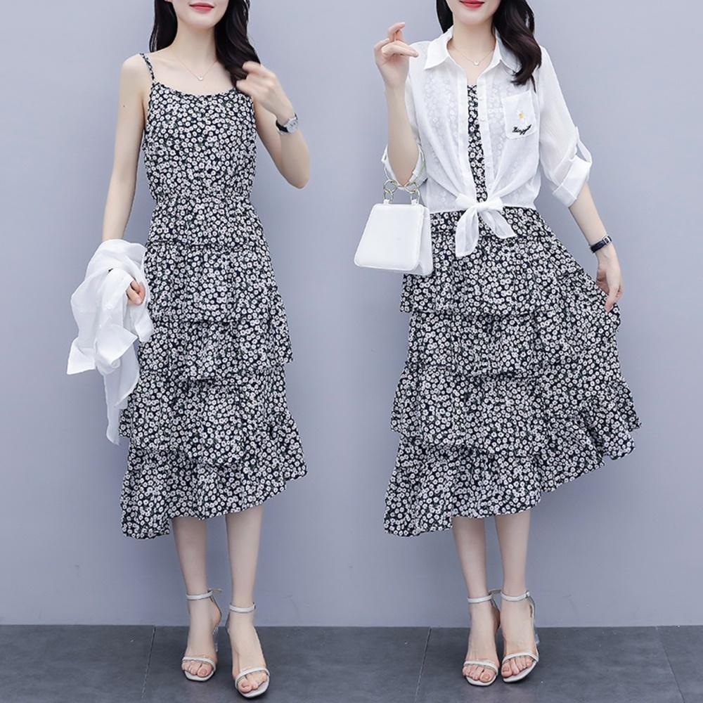 百搭白罩衫細肩帶小雛菊蛋糕裙洋裝XL-5XL-KVOLL