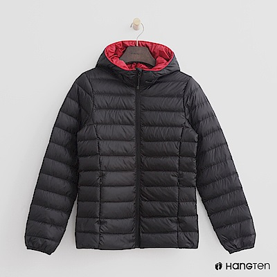Hang Ten - 女裝 - ThermoContro-立領連帽輕羽絨外套-黑