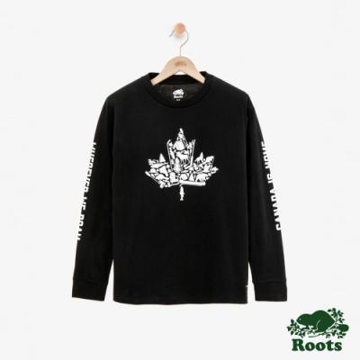 女裝ROOTS - 楓葉長袖T恤-黑色
