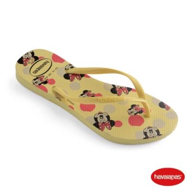 Havaianas 哈瓦仕 拖鞋 夾腳拖 人字拖 迪士尼 米妮 巴西 女鞋 檸檬黃 4141203-7598W Slim Disney