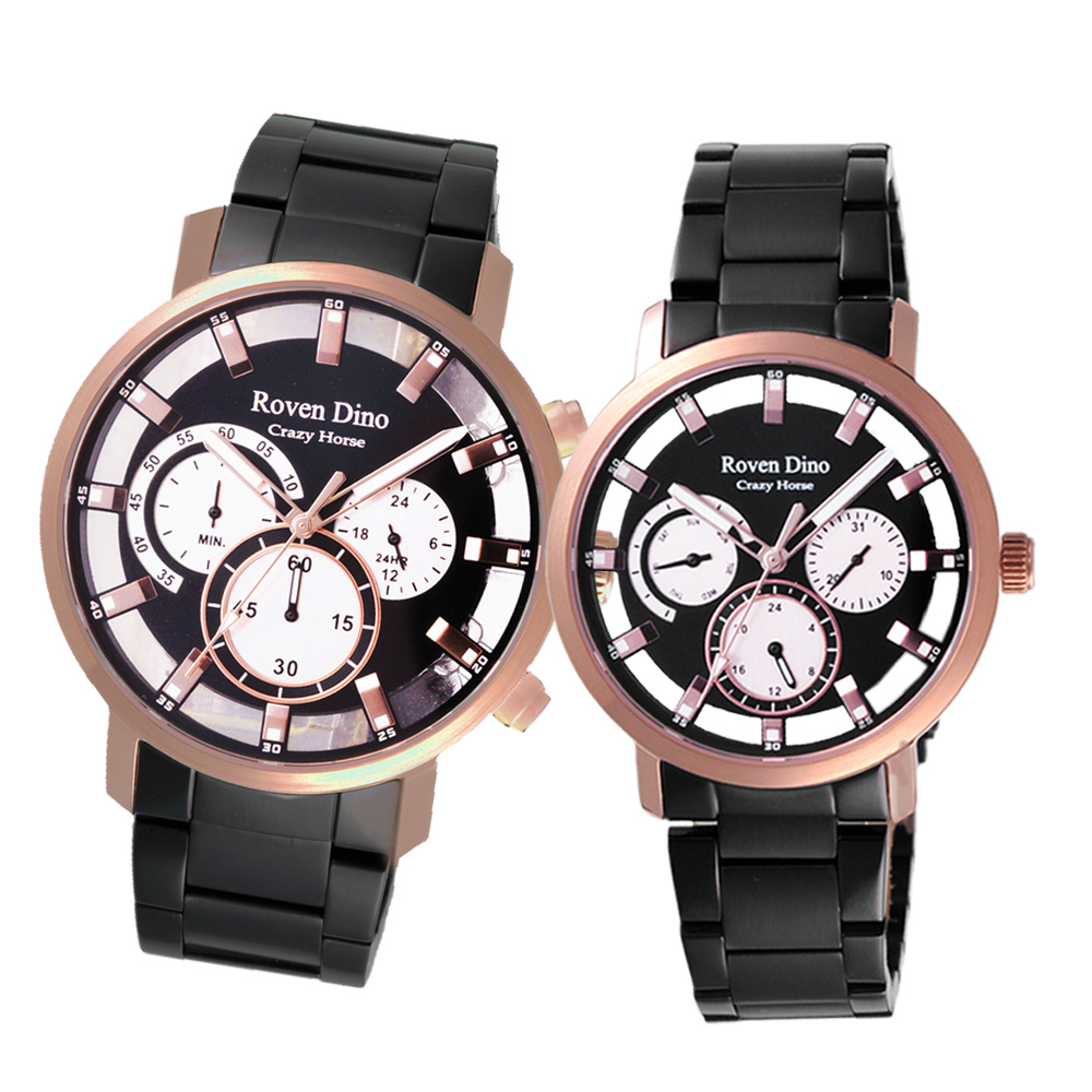 Roven Dino羅梵迪諾 經典時刻三眼對錶-黑X玫瑰金-44cm/36cm
