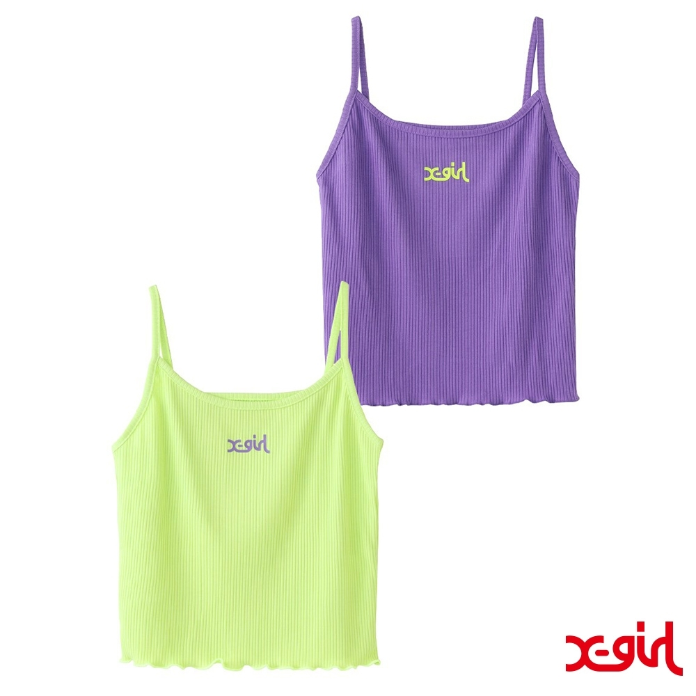 X-girl 2-PACK CAMISOLE細肩背心(兩件組)-綠/紫 product image 1