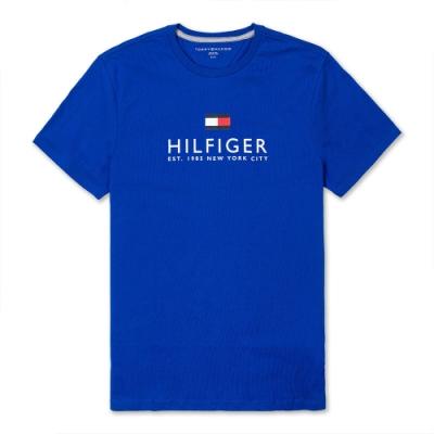 TOMMY 經典熱銷印刷大LOGO文字短袖T恤(男)-藍色
