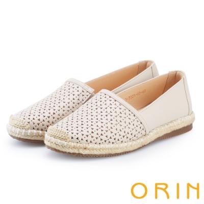 ORIN 花紋簍空牛皮平底便鞋 米色