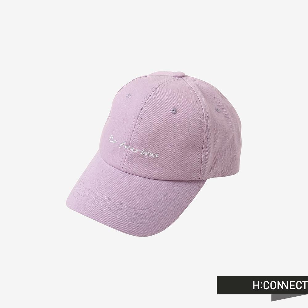 H:CONNECT 韓國品牌 配件 -英文個性標語刺繡棒球帽-粉紫