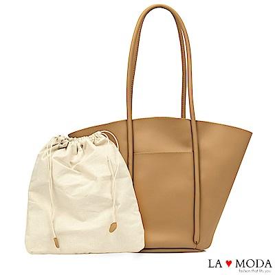 La Moda 設計感大容量托特肩背手提子母包托特包(棕)