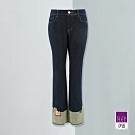 ILEY伊蕾 時尚反摺拼接直筒牛仔褲(藍)