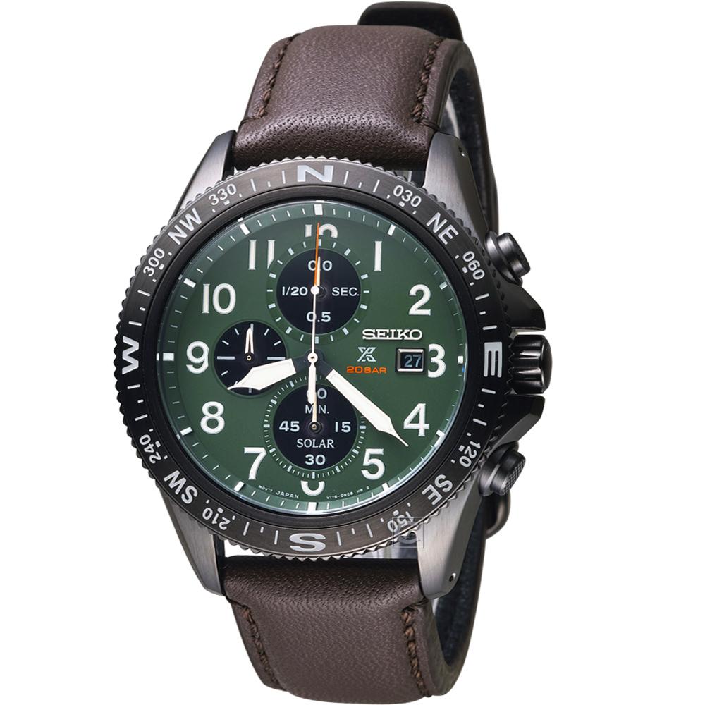 精工SEIKO Prospex系列時尚太陽能腕錶-綠-V176-0BB0G