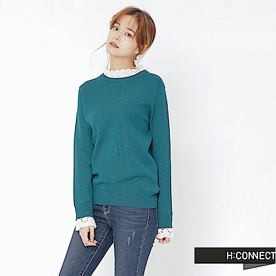 H:CONNECT 韓國品牌 女裝-拼接蕾絲小立領針織衫-綠