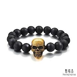 點睛品 Noir系列 大骷顱頭 黃金手環(21cm)