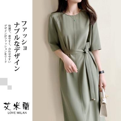 艾米蘭-韓版圓領腰綁帶素色洋裝-抹茶綠(M-XL)