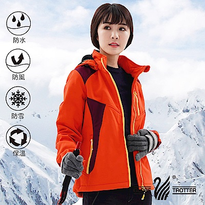 【遊遍天下】女款GlobeTex防水透濕防風刷毛軟殼外套GJ23011桔紅