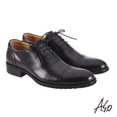 A.S.O 職場通勤 萬步健康鞋 內耳式綁帶款紳士鞋-黑