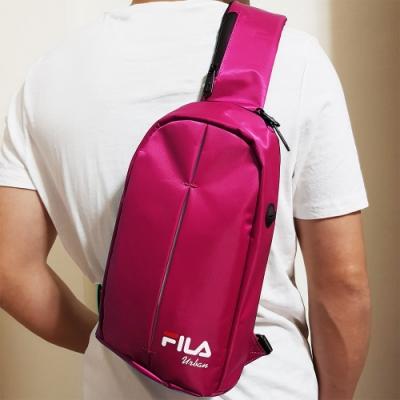 FILA 時尚單肩斜包 斜背包 休閒旅遊-粉紫色
