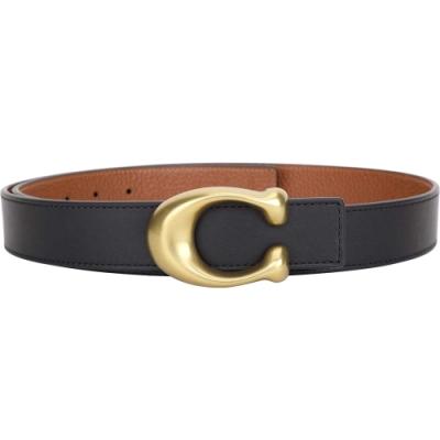 COACH Signature C字黃銅釦荔紋牛皮雙面用皮帶(黑x棕色)
