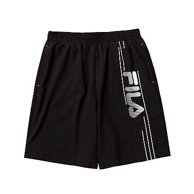 FILA KIDS 童平織5分褲-黑 1SHT-4911-BK
