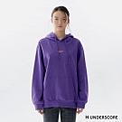 H UNDERSCORE 全新潮牌 男女裝 - 中性款質感刺繡標語連帽T - 紫色