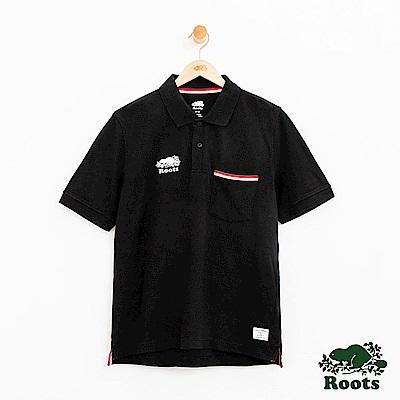 男裝Roots 右胸庫柏短袖POLO衫-黑