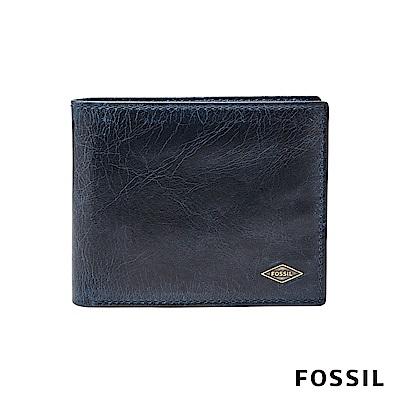 FOSSIL RYAN 真皮RFID男夾- 海軍藍