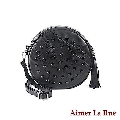 Aimer La Rue 側背斜背包 羊皮流蘇圓舞曲系列(黑色)