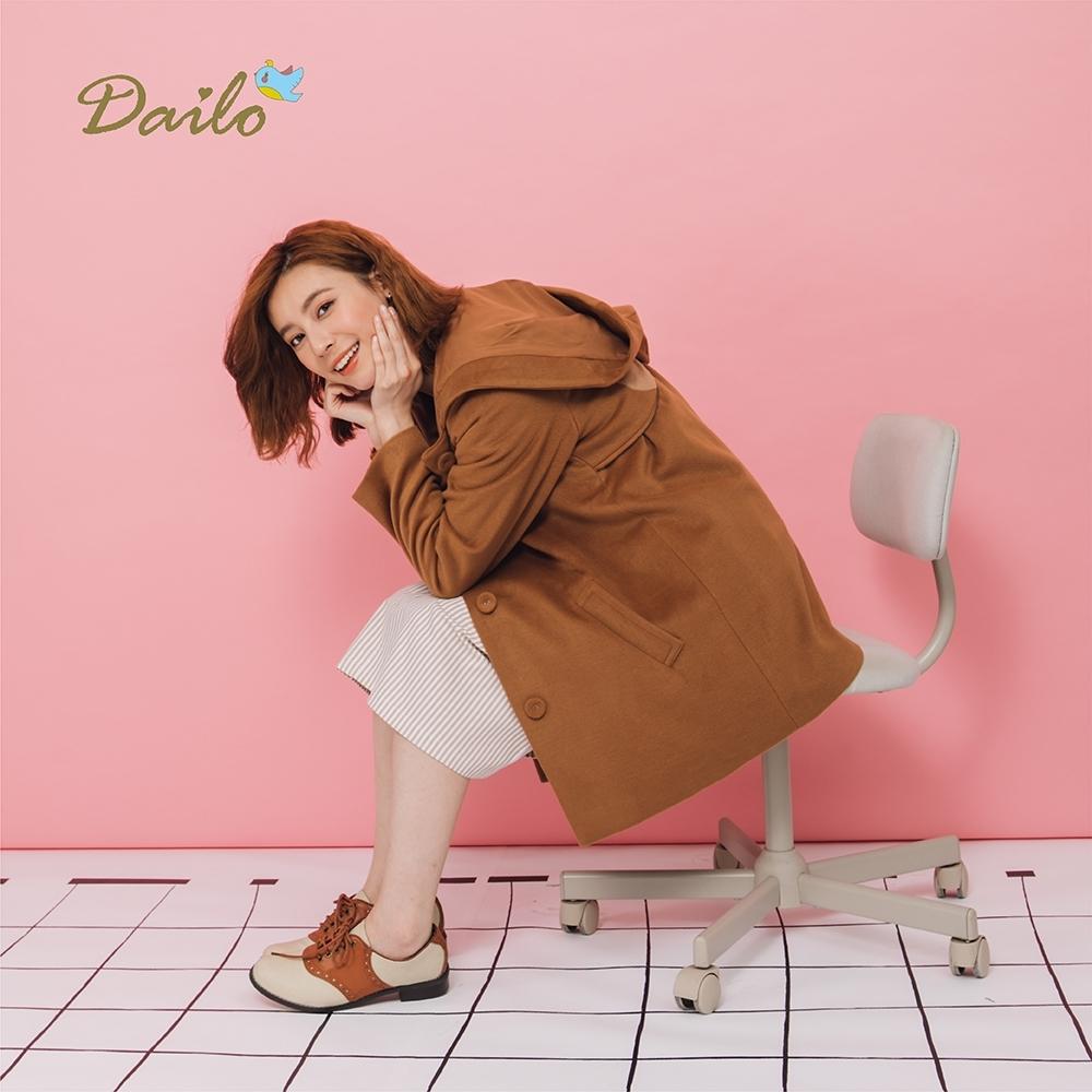 【Dailo】貓頭鷹造型連帽大衣-外套(二色/版型適中)