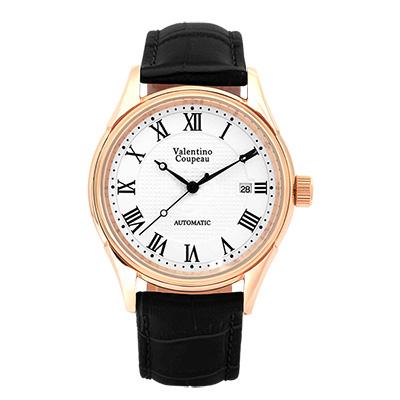 Valentino Coupeau 范倫鐵諾 古柏 經典羅馬機械錶(玫殼/白面/黑皮)