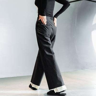 設計所在Style-假兩件拼色褲腳直筒休閒褲