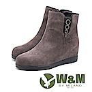 W&M 華麗真皮圓圈吊飾 內增高短靴女靴-灰(另有黑)