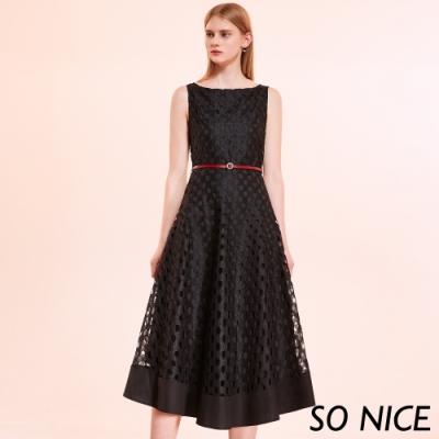 SO NICE優雅洞洞蕾絲背心式洋裝