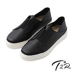 【T2R】真皮手工簡約時尚懶人鞋-黑