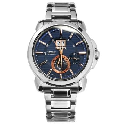 SEIKO 精工 Premier 人動電能 萬年曆 藍寶石玻璃 不鏽鋼手錶-藍色/42mm