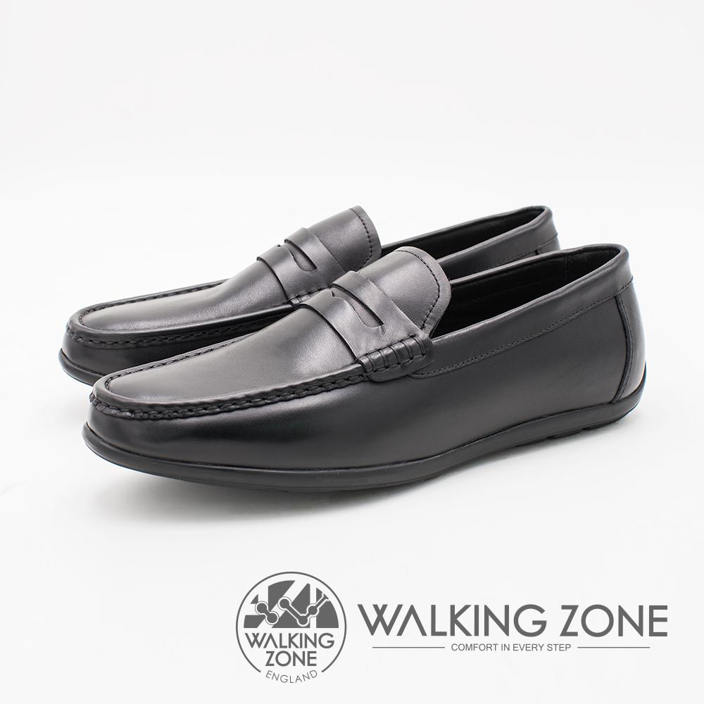 WALKING ZONE 英倫雅痞風 百搭休閒男皮鞋 -黑(另有咖啡)