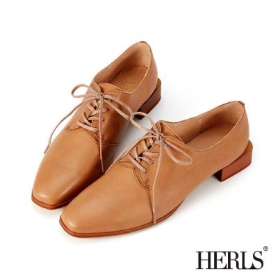 HERLS牛津鞋-全真皮扁鞋帶方頭粗低跟德比鞋牛津鞋-駝色