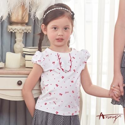 Annys安妮公主-滿版小愛心蝴蝶結打摺造型春夏款上衣*8325紅色