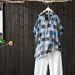 棉格子襯衫設計感小眾中袖襯衣套頭上衣-設計所在