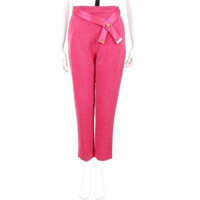 ELISABETTA FRANCHI 深桃色可拆絲緞腰帶九分西裝褲