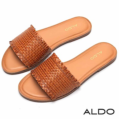 ALDO 原色真皮交叉編織寬版鞋面低跟涼鞋~都會焦糖