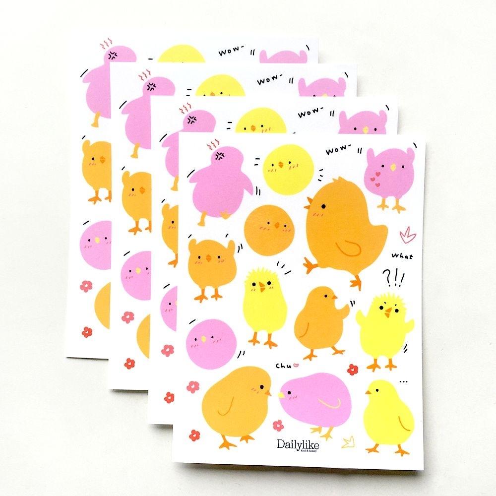 Dailylike DIY自剪貼紙包(4入)-12小雞寶寶