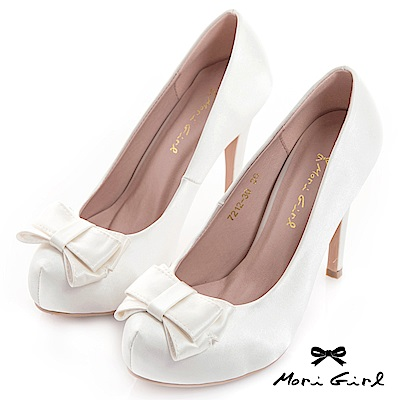 Mori girl質感光澤緞面蝴蝶結高跟婚鞋 白