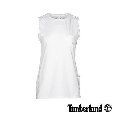 Timberland 女款白色無袖口袋長版背心|B3516