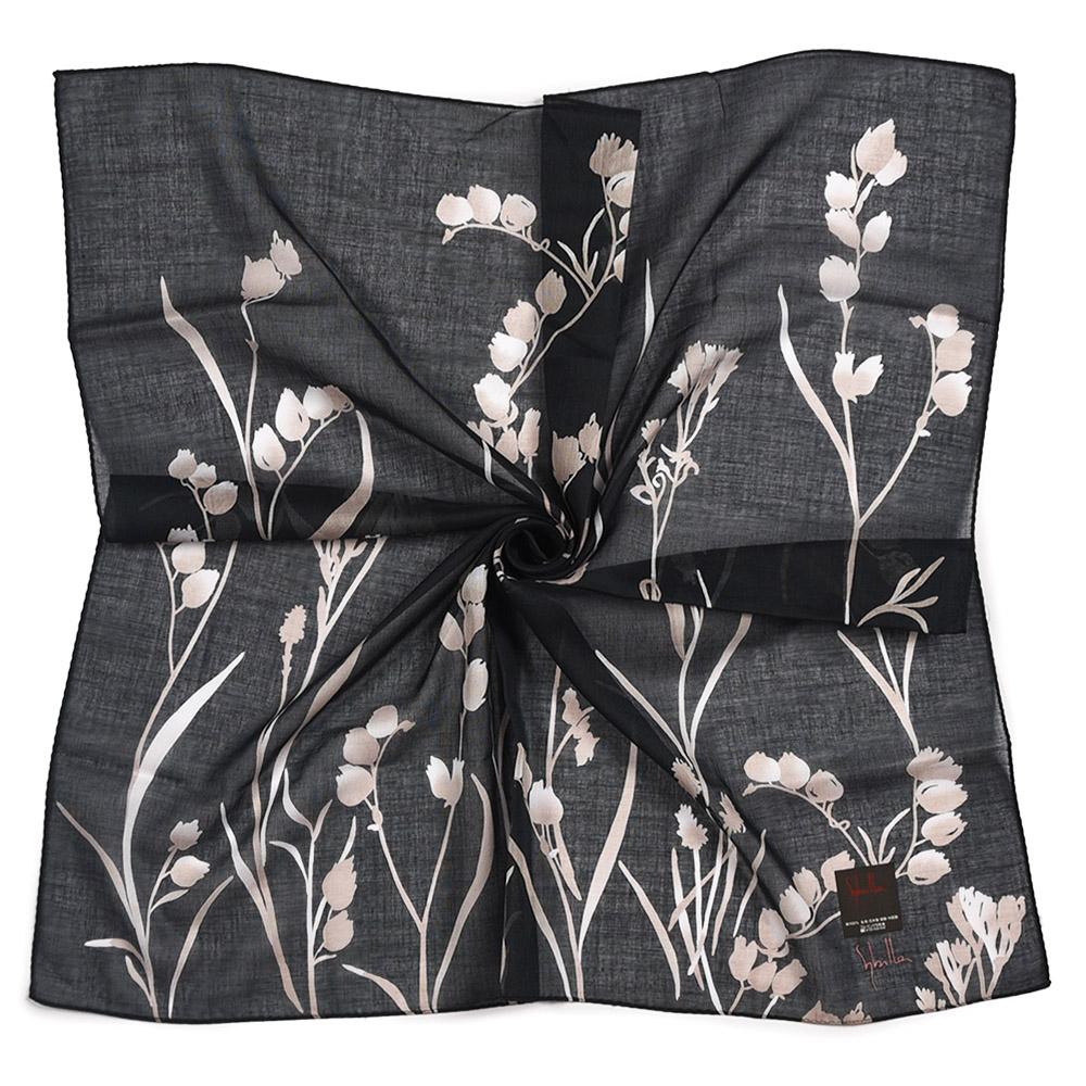 Sybilla 清新風鈴花純綿帕巾領巾-黑色