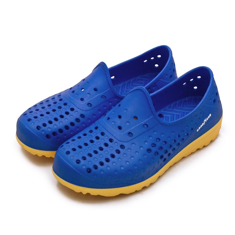 GOODYEAR 固特異 排水透氣輕便水陸多功能休閒洞洞鞋 藍橘 03676