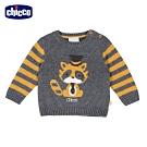chicco-浣熊學士-棉毛混紡條紋袖針織上衣