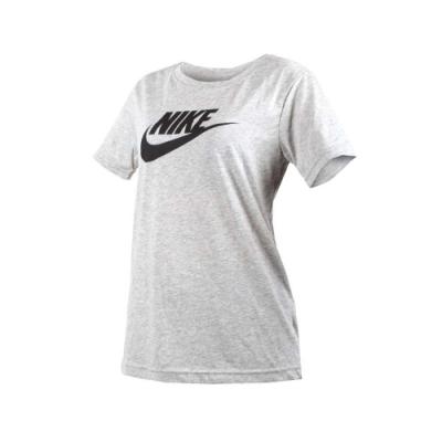 NIKE 女短袖針織衫-短T T恤 慢跑 路跑 灰黑