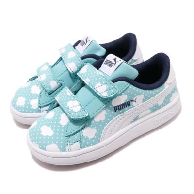 Puma 休閒鞋 Smash v2 運動 童鞋 基本款 魔鬼氈 簡約 小童 雲朵 藍 白 37119402