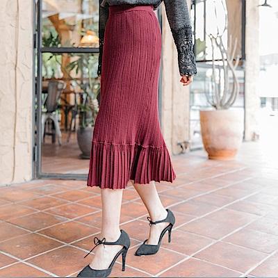 純色百褶設計包芯紗細針織中長包裙-OB大尺碼