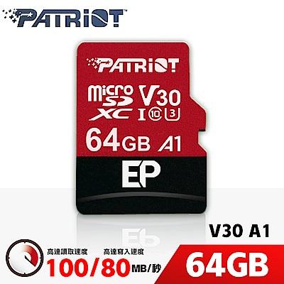Patriot美商博帝 EP MicroSDXC U3 V30 A1 64G 記憶卡