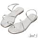 Ann'S網紅都想要2.0編織弧線方頭平底涼鞋-銀(版型偏小) product thumbnail 1
