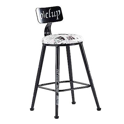 Bernice-費狄奧塗鴉風吧台椅/高腳椅-35x35x92cm
